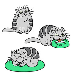 Grey cats emoticons set isolated vector