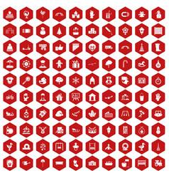 100 kindergarten icons hexagon red vector