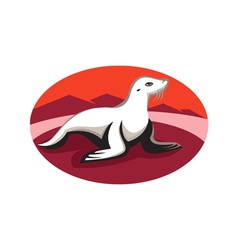 New zealand fur seal retro vector
