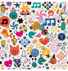 Fun cartoon pattern 3 vector