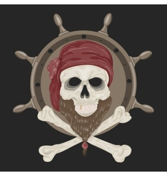 Image pirate skull with a beard vector