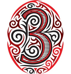 Tribal style number vector