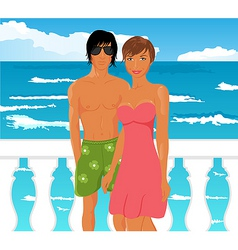 Young couple on quay at the sea vector