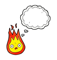 Cartoon friendly fireball with thought bubble vector