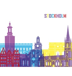 Stockholm skyline pop vector image