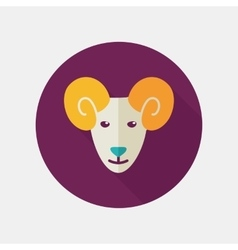 Sheep flat icon with long shadow vector