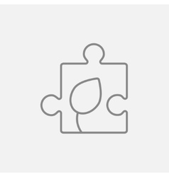 Puzzle with leaf line icon vector