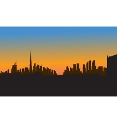 Silhouette of dubai city vector