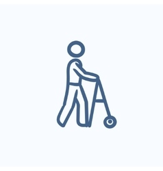 Man with walker sketch icon vector