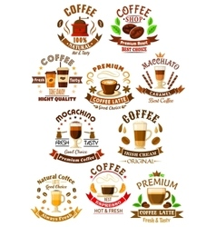 Premium quality coffee beverages symbols vector