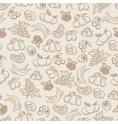 Berries and fruits sketch seamless pattern vector image