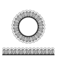 Black decorative border and circle frame vector