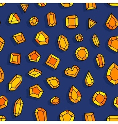 Cartoon doodle gems seamless pattern vector image