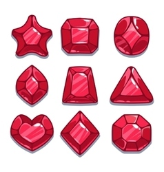Cartoon red different shapes gems vector image