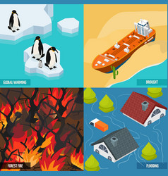 climate warming isometric design concept vector image