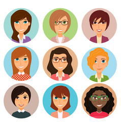 Collection of avatars of various young women vector