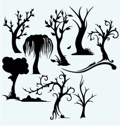 Collection of bare trees vector image vector image