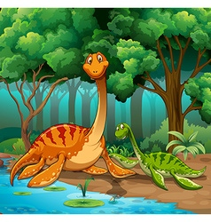 Dinosaurs living in the jungle vector image vector image
