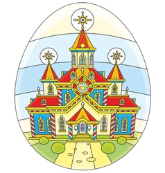 Easter egg with a church vector