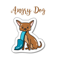 Fashion patch element angry dog vector