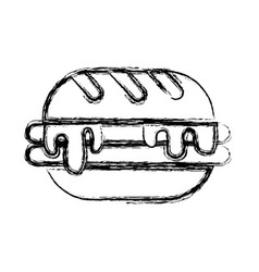 Figure delicious hamburger unhealthy fast food vector