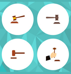 Flat icon hammer set of hammer law defense and vector