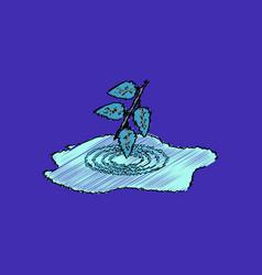 Flat shading style icon bush and puddle vector