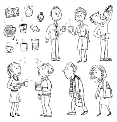 Funny people struggling without coffee vector