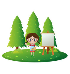 Girl painting on canvas in the park vector