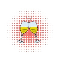 Glasses of white wine comics icon vector image vector image