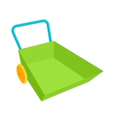 Green wheelbarrow icon in cartoon style vector