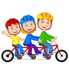 Happy family cartoon riding triple bicycle vector image
