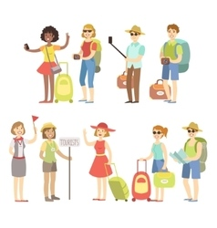 Happy tourist with bags and cameras set vector