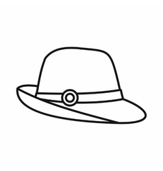 Hat icon in outline style vector