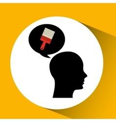 Head silhouette black icon brush repair vector