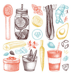Healthy life sketch collection vector