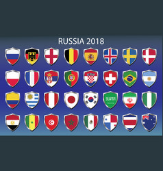 Icons flags of the participating countries 2018 vector
