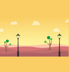 landscape of hill with street lamp vector image vector image