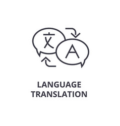 language translation line icon outline sign vector image