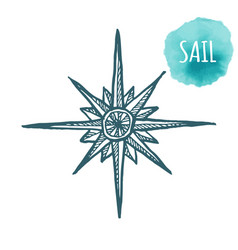 Nautical marine wind rose compass icon for travel vector