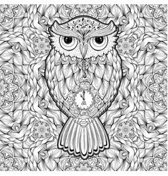owl bird isolated with clock face on stomach on vector image vector image