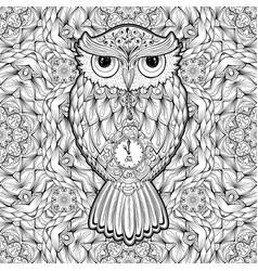 Owl bird isolated with clock face on stomach on vector