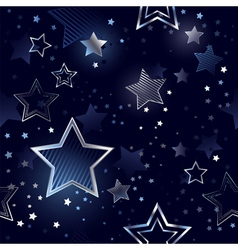 Seamless background with silver stars vector image