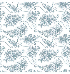 Seamless pattern with hand drawn leaves and vector