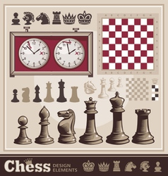 set of chess design elements vector image vector image
