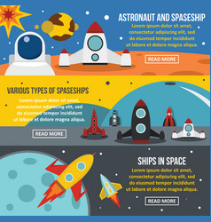 Spaceship rocket banner horizontal set flat style vector