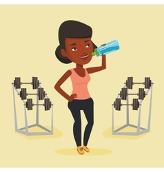 Sportive woman drinking water vector