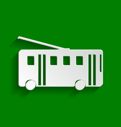 Trolleybus sign paper whitish icon with vector