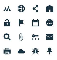 User icons set with privacy search mail and vector