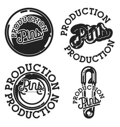 Vintage pins production emblems vector